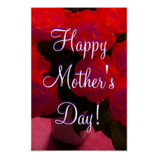 Happy Mother s Day Red Roses Poster
