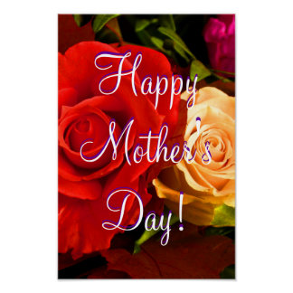 Happy Mother s Day Red Yellow Rose Posters
