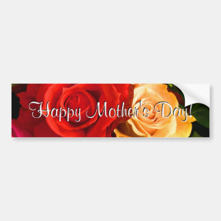 Happy Mother s Day Red Yellow Roses Bumper Sticker