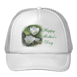 Happy Mother s Day White Tulips Trucker Hat