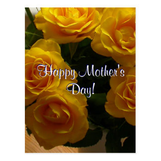 Happy Mother s Day Yellow Roses Postcard