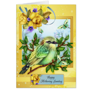 Happy Mothering Sunday, With Bird Butterflies Greeting Card