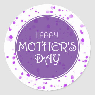 Happy Mother's Day Abstract Purple Classic Round Sticker