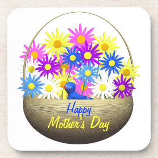 Happy Mothers Day Basket of Daisies and Blue Bird Coaster