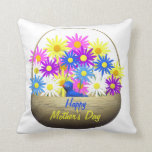 Happy Mothers Day Basket of Daisies and Blue Bird Pillows