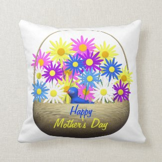 Happy Mothers Day Basket of Daisies and Blue Bird Cushions