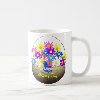 Happy Mothers Day Basket of Daisies and Blue Bird Coffee Mug