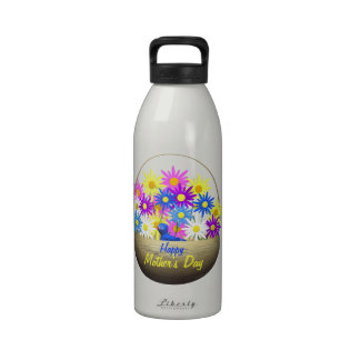 Happy Mothers Day Basket of Daisies and Blue Bird Water Bottle
