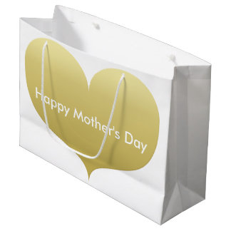Happy Mother's Day | Big Gold Heart Gift Bag