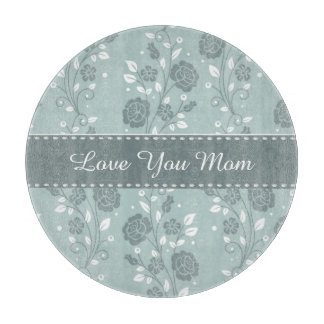 Happy Mother's Day Blue Floral Design Cutting Boards
