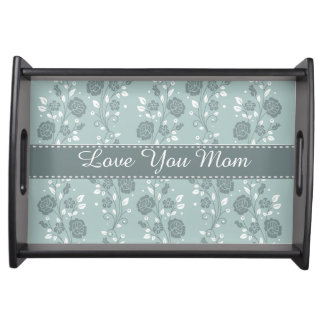 Happy Mother's Day Blue Floral Design Serving Trays
