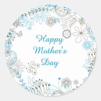 Happy Mother's Day Blue Flowers Round Sticker