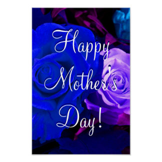 Happy Mother's Day Blue Purple Rose Print