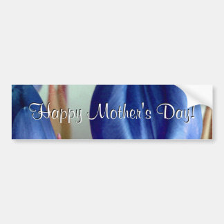 Happy Mother's Day Blue Tulips Bumper Sticker