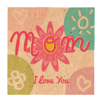 Happy Mother's day  Bright Colorful design Beverage Coasters