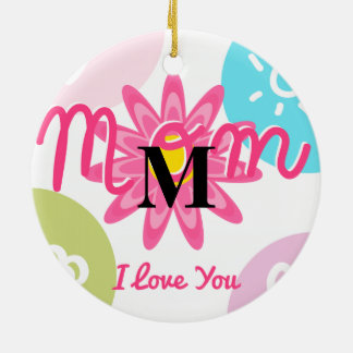 Happy Mother's day  Bright Colorful design Round Ceramic Decoration