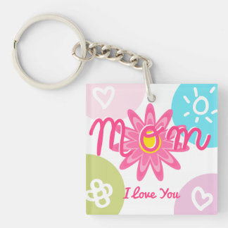 Happy Mother's day  Bright Colorful design Double-Sided Square Acrylic Key Ring
