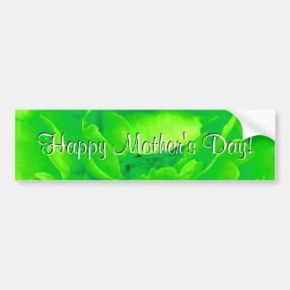 Happy Mother's Day Bright Green Rose Bumper Sticker