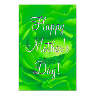 Happy Mother's Day Bright Green Rose Poster