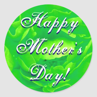 Happy Mother's Day Bright Green Rose Round Stickers