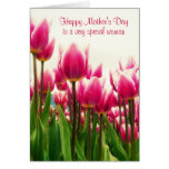 Happy Mother's Day Bright Pink Tulips Greeting Card