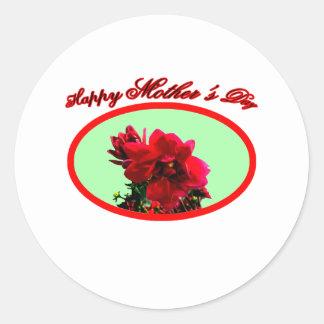 Happy Mother's Day Camellia bg Green The MUSEUM Za Round Sticker