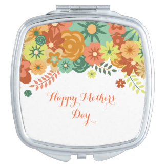 Happy Mother's Day Colorful Floral Design Vanity Mirrors