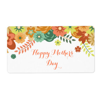 Happy Mother's Day Colorful Floral Design Shipping Label