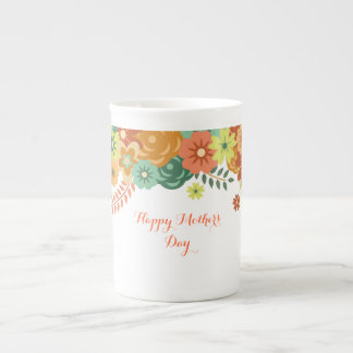 Happy Mother's Day Colorful Floral Design Bone China Mug