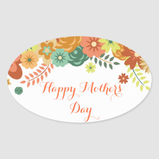 Happy Mother's Day Colorful Floral Design Oval Sticker