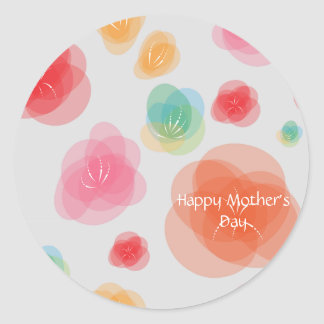 Happy Mother's Day Colorful Spring Flowers Classic Round Sticker