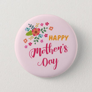"""""""Happy Mother's Day"""" Cute Floral Pink Illustration 6 Cm Round Badge"""