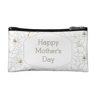 Happy Mother's Day Elegant Flowers Makeup Bag