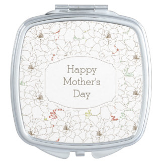 Happy Mother's Day Elegant Flowers Vanity Mirror