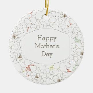 Happy Mother's Day Elegant Flowers Round Ceramic Decoration