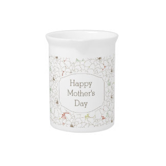 Happy Mother's Day Elegant Flowers Drink Pitchers