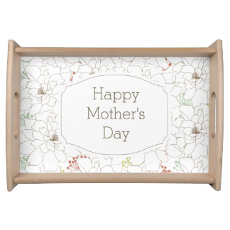Happy Mother's Day Elegant Flowers Serving Trays