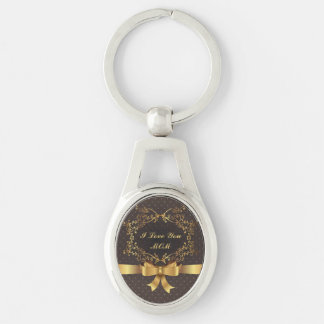Happy Mother's Day Elegant Golden Design Silver-Colored Oval Key Ring