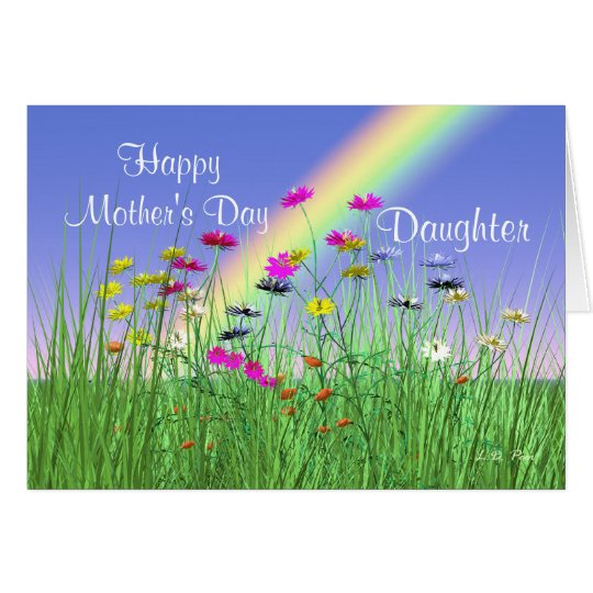 Happy Mothers Day for Daughter Spring Flowers Card