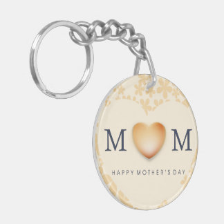 Happy Mother's Day Heart Peach Double-Sided Round Acrylic Keychain