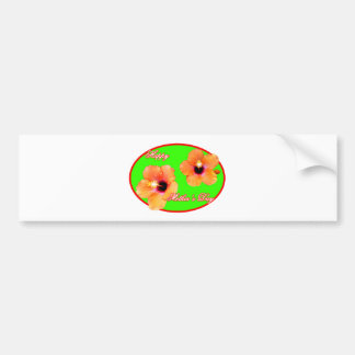 Happy Mother's Day Hibiscus Green Red Oval The MUS Bumper Sticker