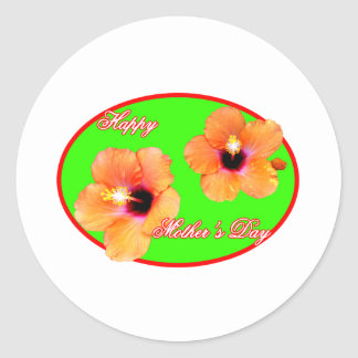 Happy Mother's Day Hibiscus Green Red Oval The MUS Sticker