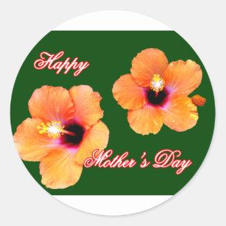 Happy Mother's Day Hibiscus Orange Green bg The MU Round Sticker
