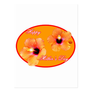 Happy Mother's Day Hibiscus Orange Red Oval The MU Postcard