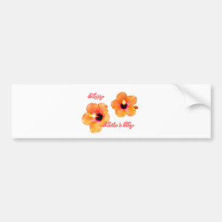 Happy Mother's Day Hibiscus Orange Transp bg The M Bumper Stickers