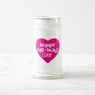 Happy Mother's Day Hot Pink Heart White Stein Beer Steins