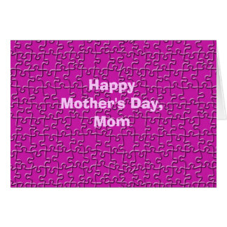 Happy Mother's Day, Hot Pink Jigsaw Puzzle Greeting Card