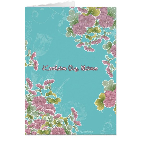 Happy Mother's Day in Polish, chrysanthemum flower Card