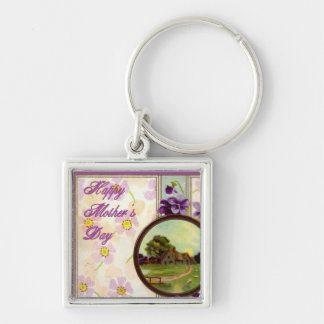 Happy Mother's day Silver-Colored Square Key Ring