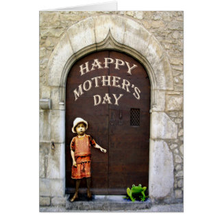 Happy Mother's Day, little girl and green frog. Card